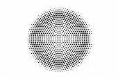 Black On White Round Halftone Texture. Centered Dotwork Gradient. Halftone Vector Background. Monoch poster