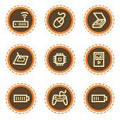Electronics web icons set 2, vintage buttons