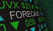 Forecast Prediction Outlook Stock Market Ticker Words 3d Illustration poster