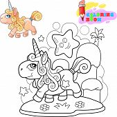 Little Cartoon Cute Pony Unicorn, Coloring Book, Funny Illustration poster