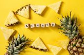 Summer Concept. Conceptual. Tasty Appetizing Slices Of Pineapple On Yellow Bright Vibrant Background poster