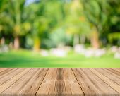 Wooden Board Empty Table In Front Of Blurred Background. Perspective Grey Wood Over Blur Trees In Fo poster