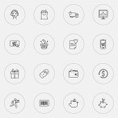 E-commerce Icons Line Style Set With Wish List, Wallet, Piggy Bank And Other Online Shopping Element poster