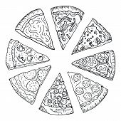 Sliced Hot Pizza Hand Drawing In Doodle Style Isolated On White Background. Doodle Drawing Cut Pizza poster
