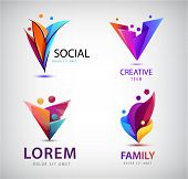Vector Set Of Human, People Group Logos. Family, Business Teamwork, Friendship Concept. 3d Origami,  poster