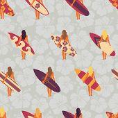 Summer Surfer Girl Seamless Vector Pattern. Women Holding Surfboards Illustration Hibiscus Flower Ba poster