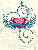 image of san valentine  - Heart shape having floral decorative wings in blue color on seamless floral background for Valentine Day - JPG