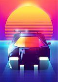 80s Retro Sci-fi Background. Vector Retro Futuristic Synth Retro Wave Illustration In 1980s Posters  poster