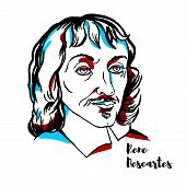 Rene Descartes Engraved Vector Portrait With Ink Contours. French Philosopher, Mathematician, And Sc poster