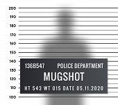 Police Mugshot Criminal Template. Vector Silhouette Lineup Criminal Arrest Portrait Mugshot. poster