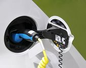 Electric Car - plugged in for charging
