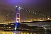 foto of tsing ma bridge  - night scene of Tsing Ma bridge - JPG