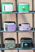 Many Various Leather And Textile Bracelets. Leather Multi-colored Bracelets In The Shop. Vertical Ph poster