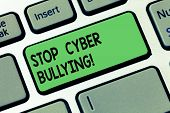 Text Sign Showing Stop Cyber Bullying. Conceptual Photo Prevent Use Of Electronic Communication Bull poster