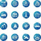 Blue Grunge Travel Icons poster