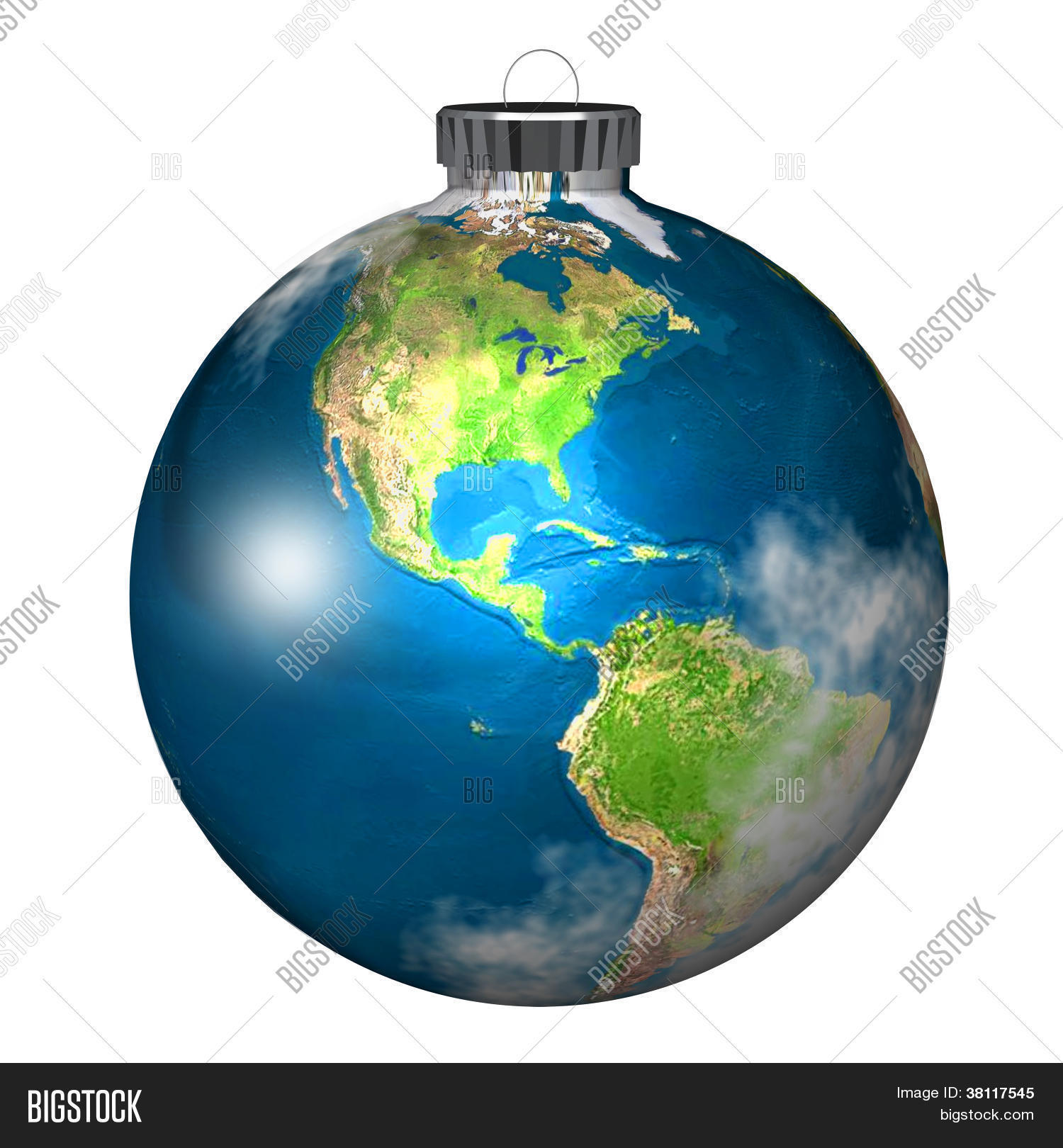 World globe christmas ornaments - Christmas Tree Bulb Ornament As Planet Earth On White Background