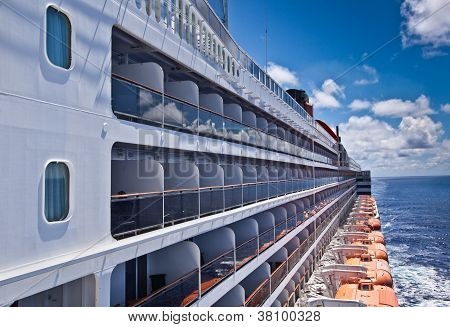 Balcony Cabins On A Cruise Ship At Sea