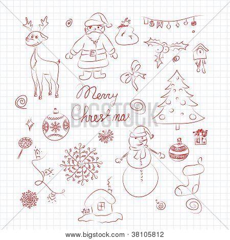Conjunto de elementos de la Navidad
