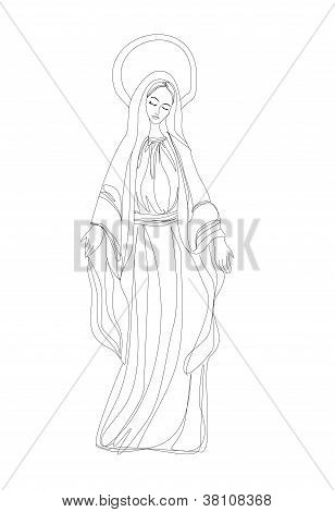 Blessed  Mary In Black And White Contour Drawing