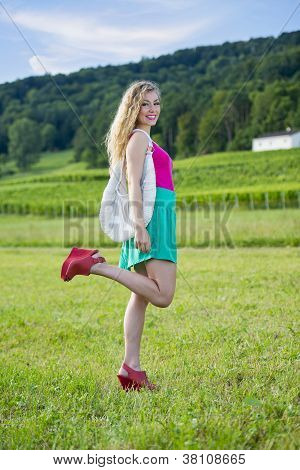 Beautiful Teenager Girl With Colorful Clothes