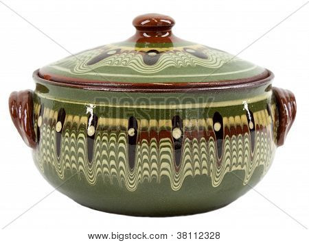 Traditional Green Glazed Clay Pot