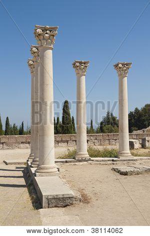 Ancient columns on Kos island, Greece