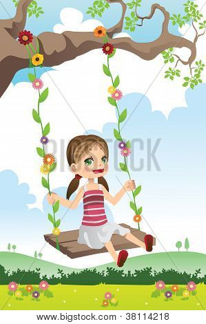 Girl Swinging On A Tree