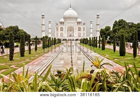 Taj Mahal Temple With Garden Foreground