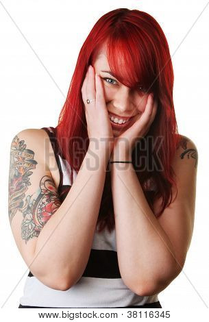Smiling Woman With Doll Tattoo