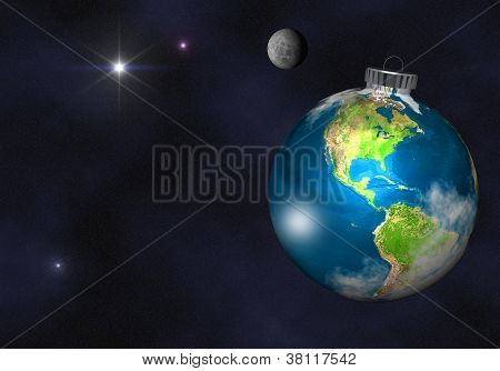 Christmas Tree Bulb Ornament as Planet Earth from Space