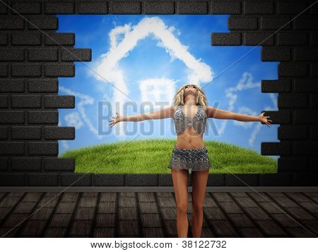Girl Posing Over Broken Brick Wall