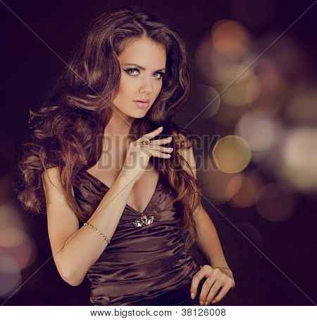 Fashion Lady, Sensual Brunette Woman With Shiny Curly Silky Hair In Elegant Dress