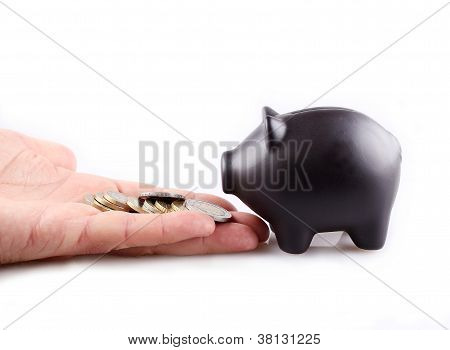Black Piggy Bank With Money