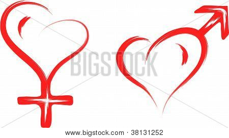 male and female sex heart symbol