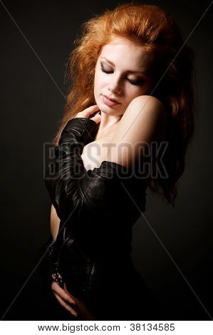 Portrait Of Beautiful Young Redhead Woman
