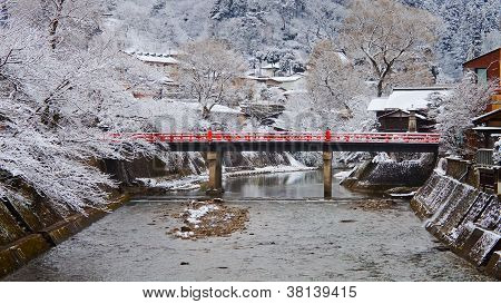 Nakabashi Bridge of Takayama that crosses Miyagawa river in winter