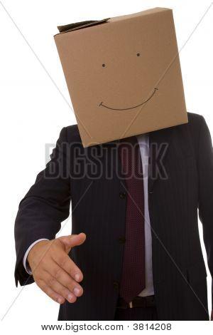 Cardboad Businessman Handshake