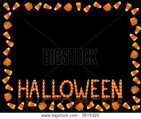 Halloween Candy Corn Frame On Black With Text