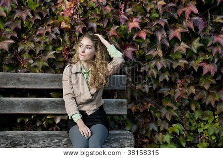 Pretty Teenager Girl In Autumn