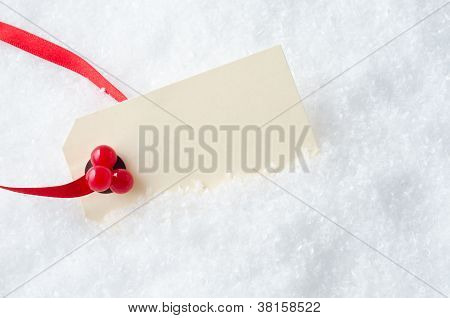 Christmas Gift Tag In Snow