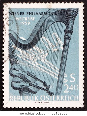 Postage stamp Austria 1959 Orchestral Instruments