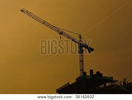 Silhouettes Of Cranes Background