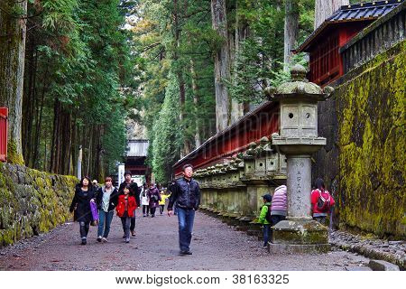 People in front of Futarasan shrine in Nikko
