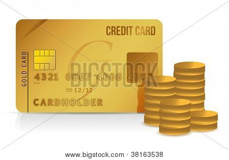 Credit Card And Coins Illustration Design