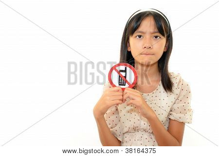 Girl with a mark of non smoking