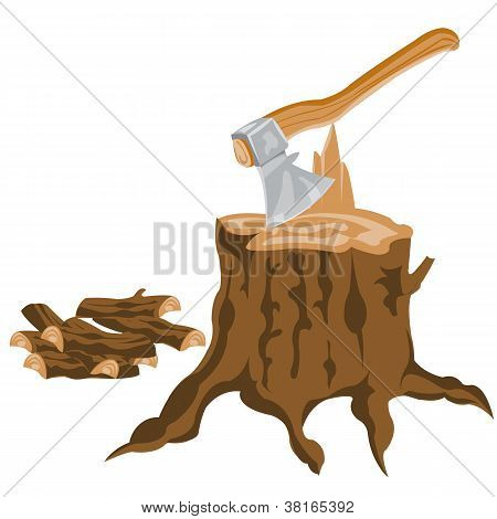 Axe And Pricked Firewood