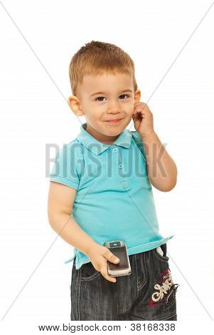 Cute Toddler Boy With Phone