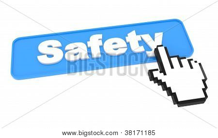 Safety Button with Cursor on White.