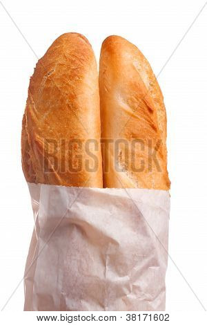 Two French Baguettes In Paper Bag
