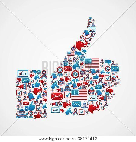 Usa Elections Icons Thumb Up Hand
